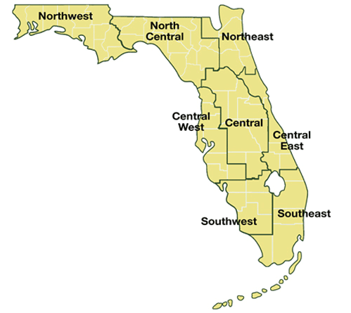 Map of the geographic regions of Florida