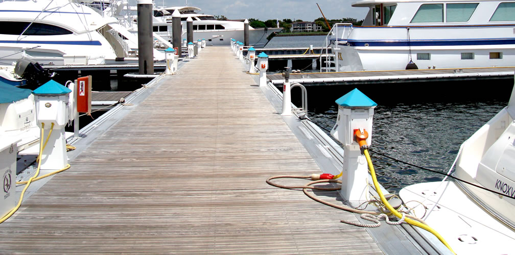 Modern Marina with Power Pedestals and Finger Docks