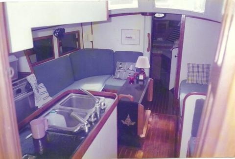 Main Cabin of Silverheels Showing Folding Table
